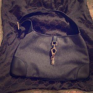 Rare Vintage Black Denim & Leather Jackie O Bag